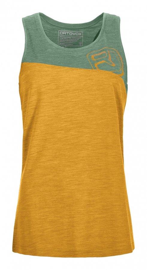Zeleno-žluté dámské turistické tričko bez rukávů Ortovox