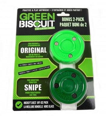 Puk na in-line hokej - Puk Green Biscuit Bonus 2-Pack