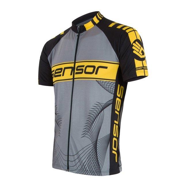Šedo-žlutý pánský cyklistický dres Sensor - velikost M