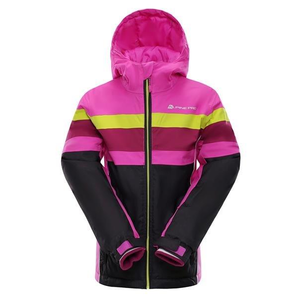 Černo-růžová dětská dívčí lyžařská bunda Alpine Pro