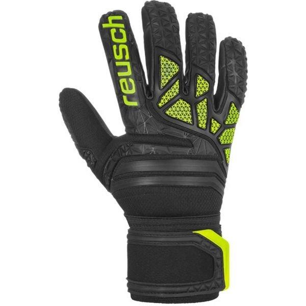Černo-zelené pánské brankářské fotbalové rukavice Reusch