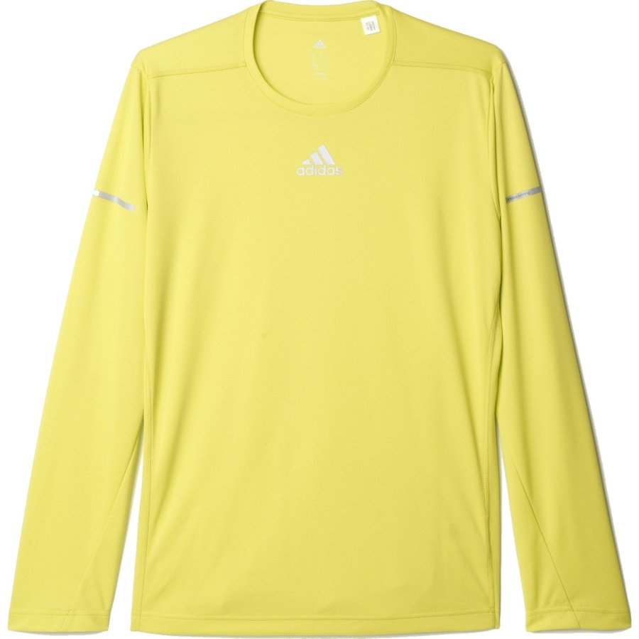 Žluté pánské běžecké tričko Run Ls Tee, Adidas - velikost L