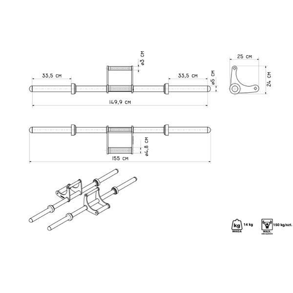 Rovná činková tyč Marbo - délka 150 cm