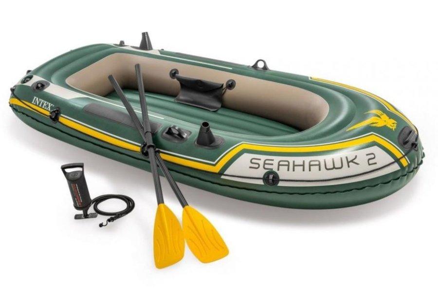 Zelený nafukovací člun s nafukovacím dnem pro 2 osoby Seahawk 2, INTEX