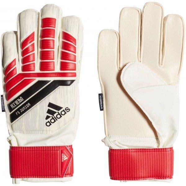 Bílo-červené chlapecké brankářské fotbalové rukavice Adidas