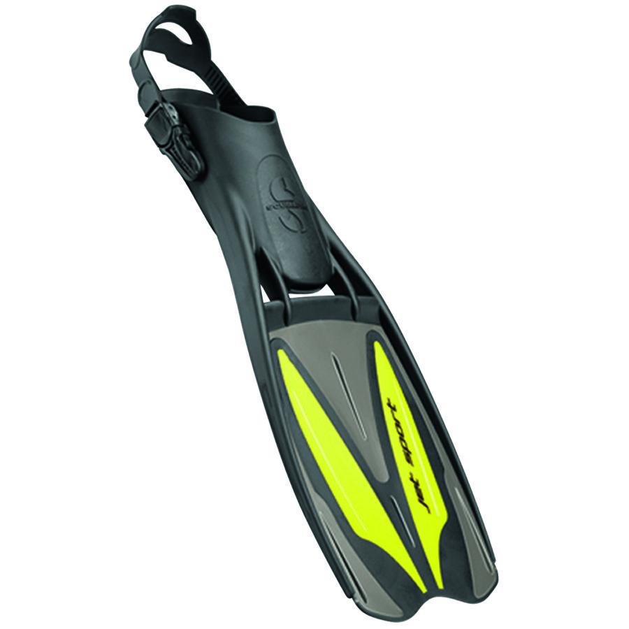 Černo-žluté dlouhé potápěčské ploutve s pásky JET SPORT ADJUSTABLE, Scubapro