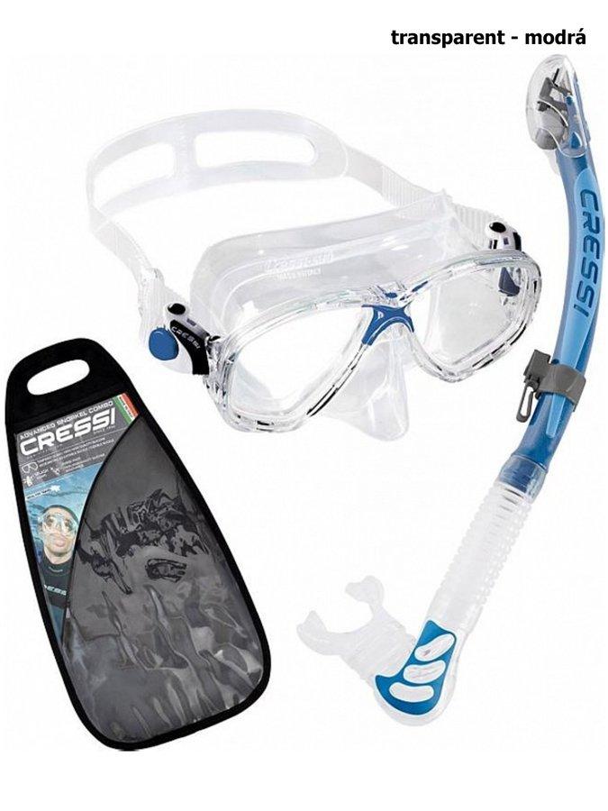 Potápěčská sada - Potápěčský set CRESSI Marea+Alpha Ultra Dry - transparent modrá