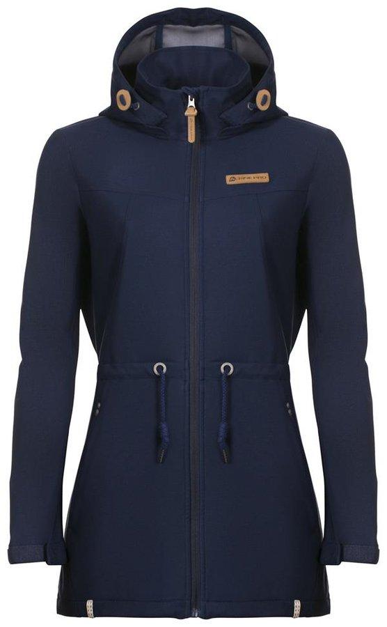 Modrý softshellový dámský kabát s kapucí Alpine Pro - velikost S