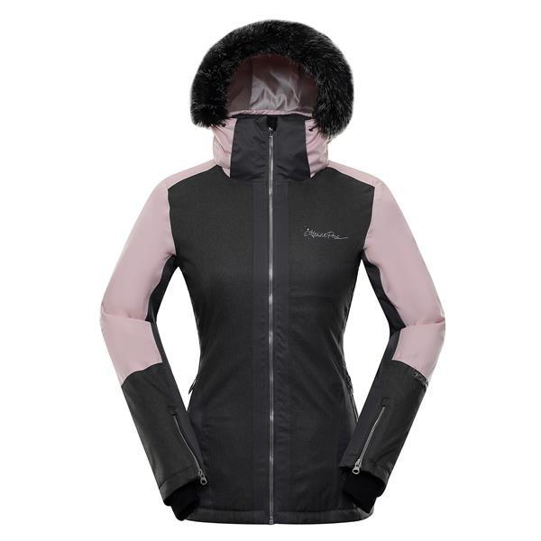 Růžovo-šedá zimní dámská bunda s kapucí Alpine Pro - velikost XS
