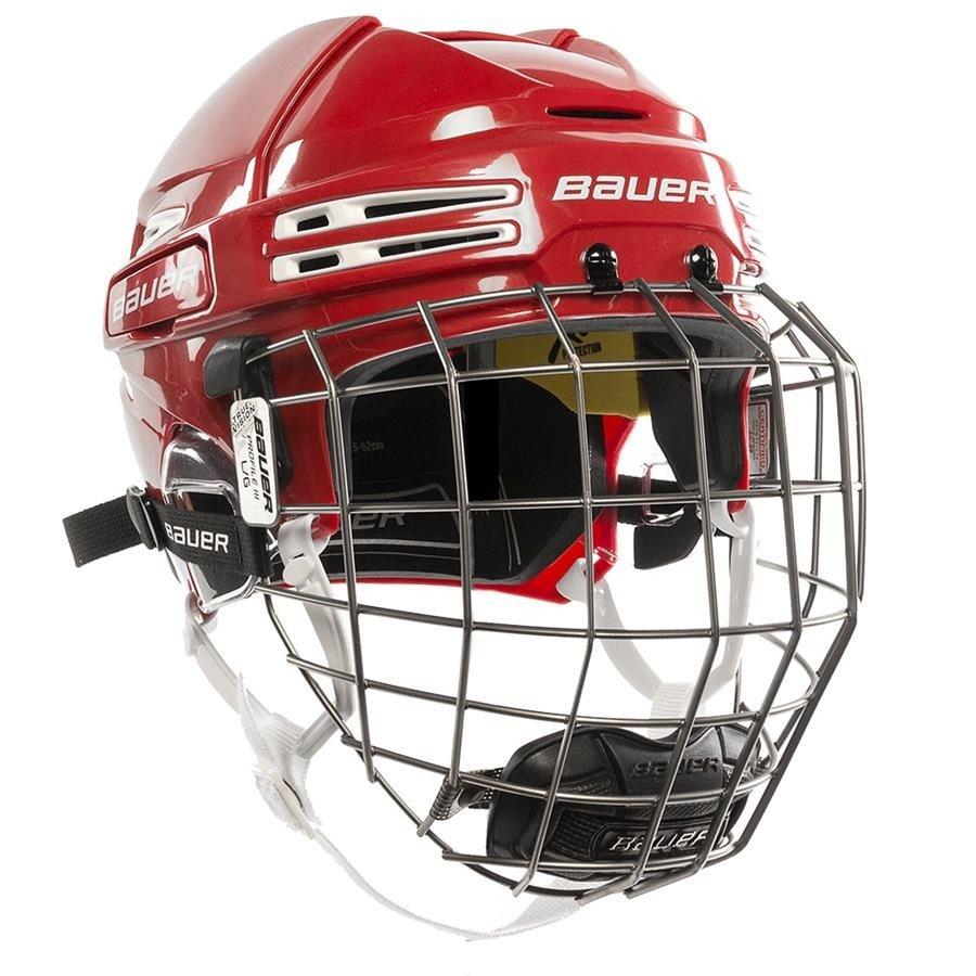 Hokejová helma - Combo Bauer RE-AKT 75 RED/WHT Velikost: S