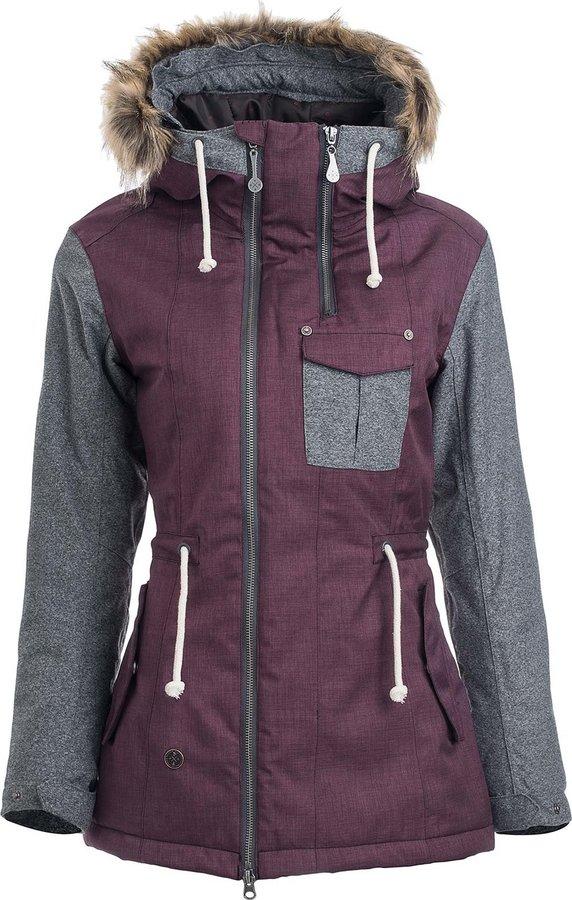 Fialová zimní dámská bunda s kapucí Woox - velikost 38