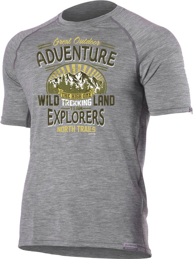 Šedé pánské tričko s krátkým rukávem Lasting - velikost 3XL