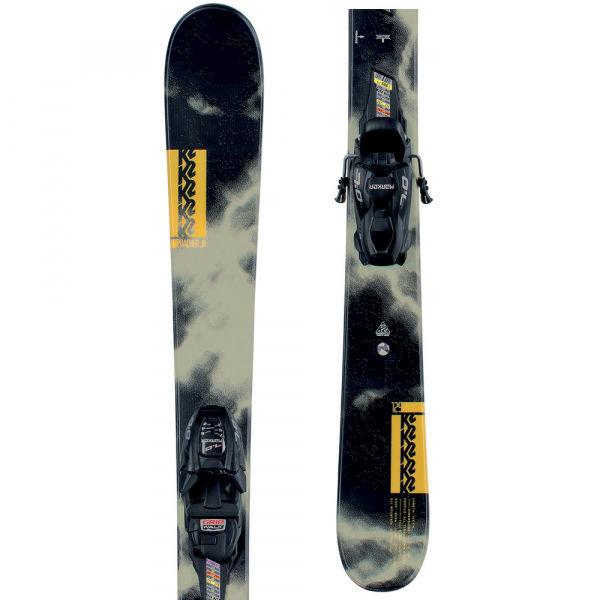 Černo-šedé dětské freeridové lyže s vázáním K2
