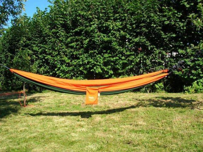 Oranžovo-zelená houpací síť pro 1 osobu Single, Hamaka