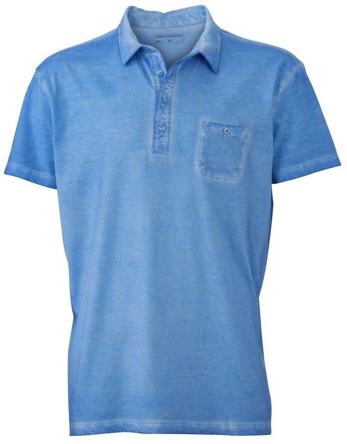 Modrá pánská polokošile s krátkým rukávem James & Nicholson - velikost S
