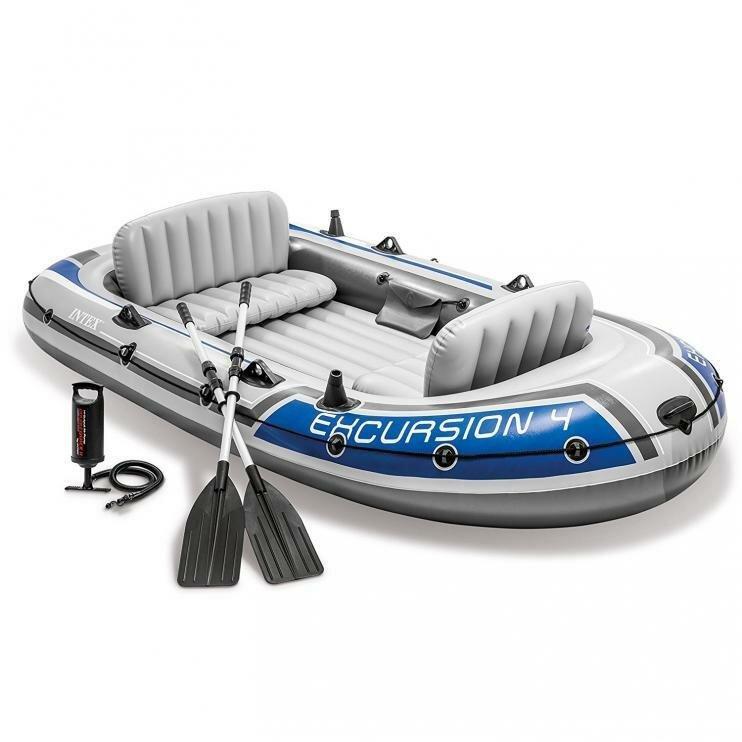 Šedý nafukovací člun s nafukovacím dnem pro 5 osob Excursion 4, INTEX