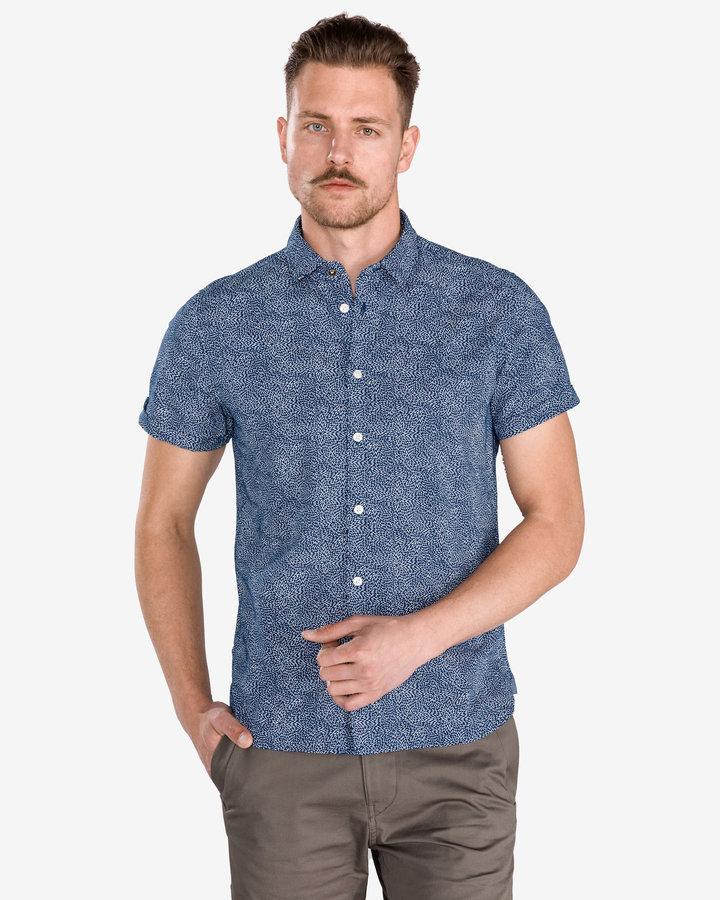 Modrá pánská košile s krátkým rukávem Pepe Jeans - velikost S