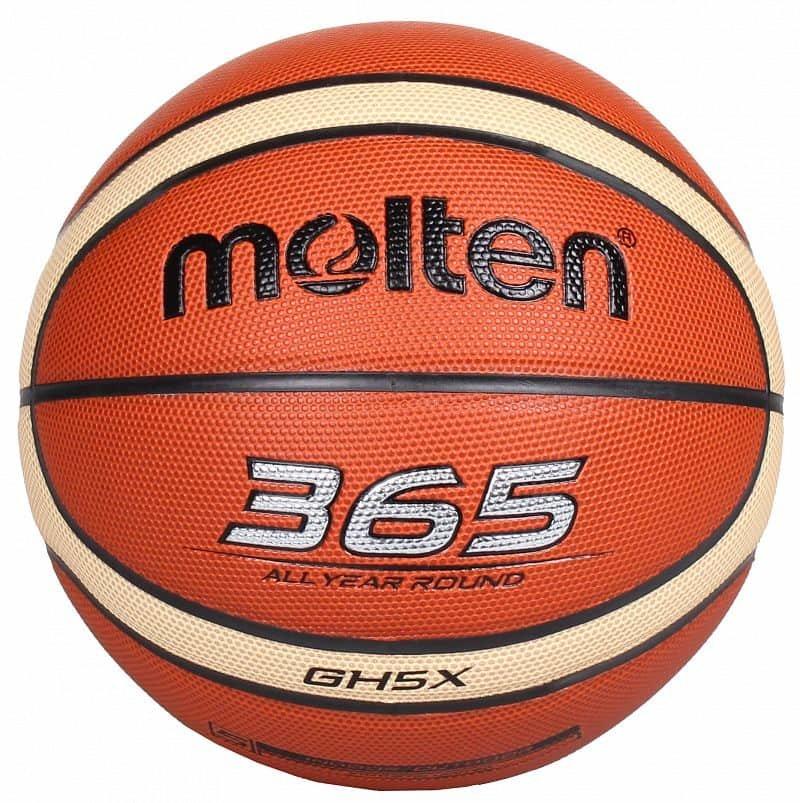 Hnědo-žlutý basketbalový míč BGE5, Molten - velikost 5