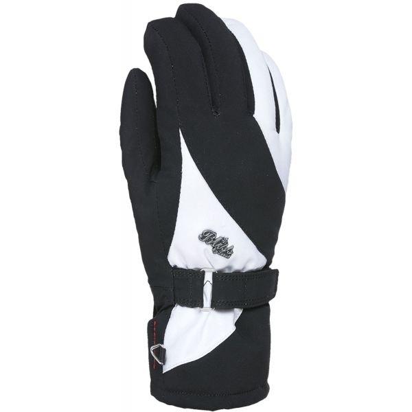 Bílo-černé dámské lyžařské rukavice Level - velikost XXS