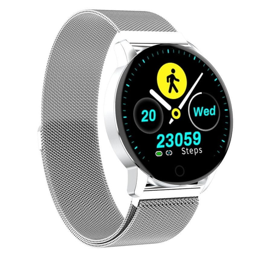 Stříbrné analogové chytré dámské hodinky SmartWatch QS20, Neogo