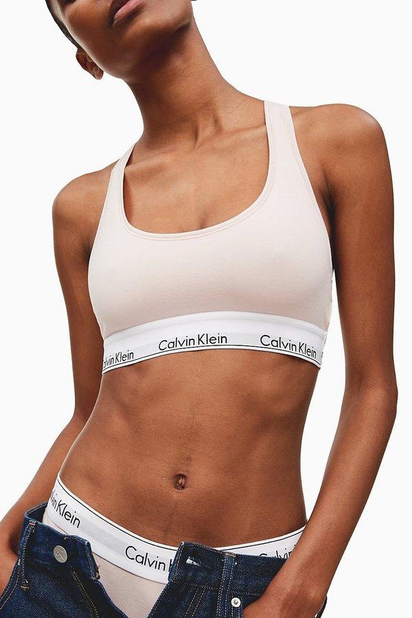 Podprsenka - Calvin Klein pudrová sportovní podprsenka Bralette - L