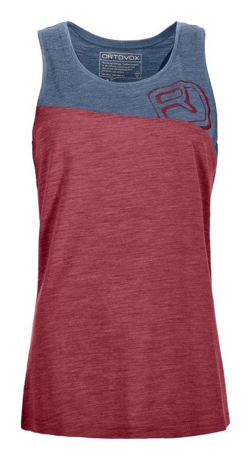 Červeno-modré dámské turistické tričko bez rukávů Ortovox
