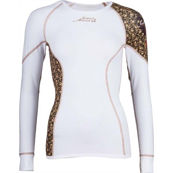 Bílé dámské funkční tričko s dlouhým rukávem Suspect Animal - velikost L