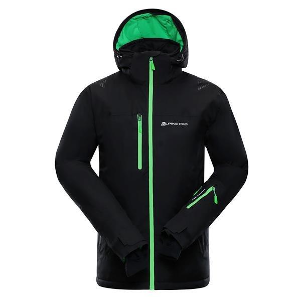 Černo-zelená pánská lyžařská bunda Alpine Pro - velikost S