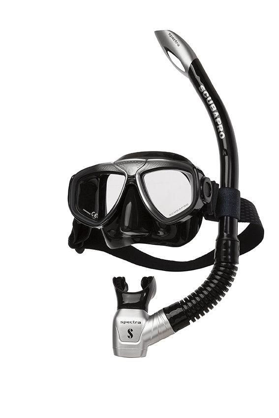 Potápěčská maska - Set maska a šnorchl Zoom Evo Combo Scubapro - černo/stříbrná- černá