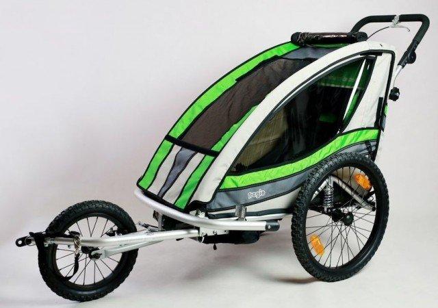 Bílo-zelený dětský vozík za kolo Tregio - nosnost 35 kg