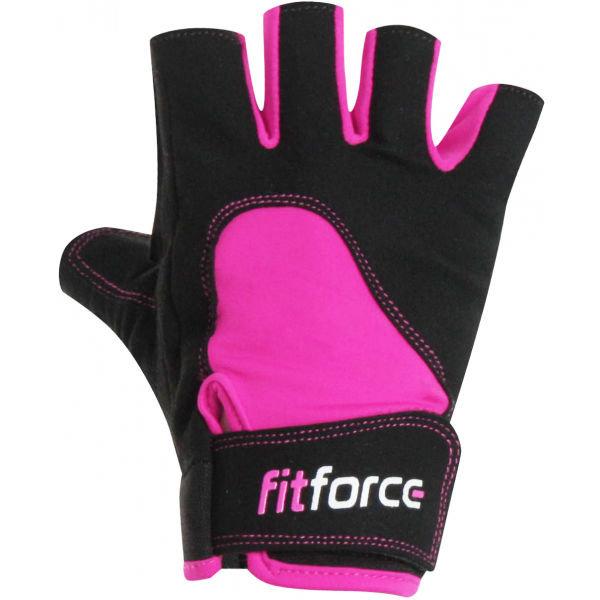 Černo-růžové dámské fitness rukavice Fitforce
