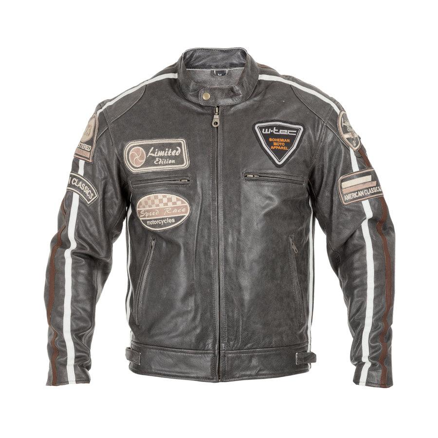 Šedá pánská motorkářská bunda Antique Cracker, W-TEC