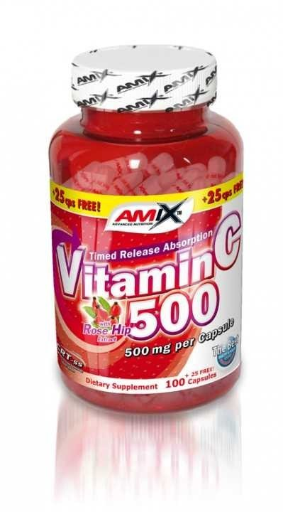 Vitamín C - Amix Vitamin C 500mg + Rose Hips 125 kapslí