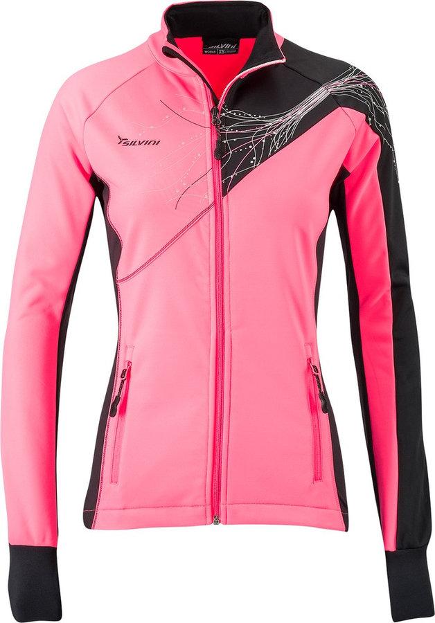 Černo-růžová softshellová dámská bunda Silvini