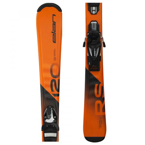 Oranžové dětské lyže s vázáním Elan - délka 120 cm