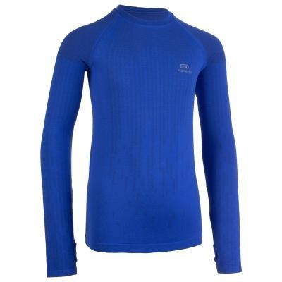 Modré dětské tričko na atletiku s dlouhým rukávem Kalenji