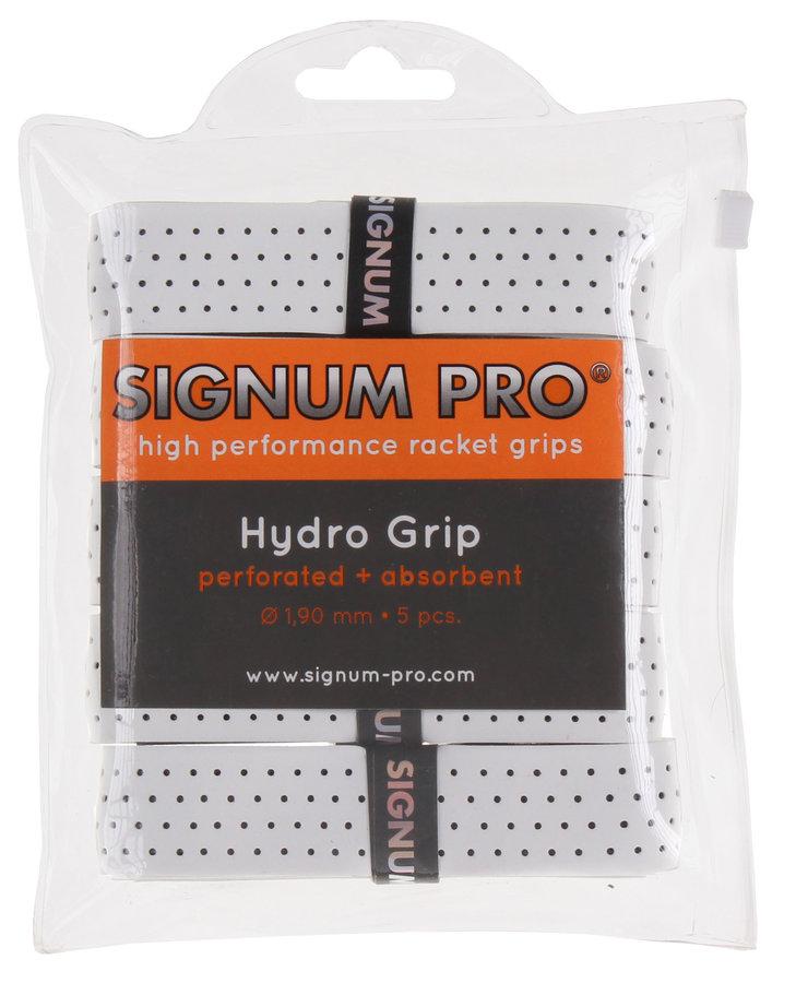 Bílá tenisová omotávka Pro Hydro grip, Signum - 5 ks