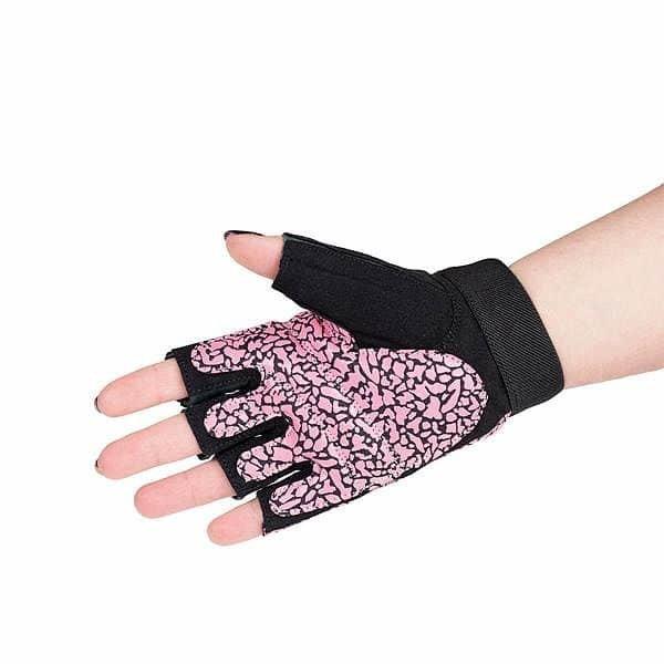 Růžové dámské fitness rukavice HMS - velikost L