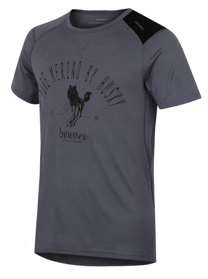 Šedé pánské termo tričko s krátkým rukávem Husky - velikost XL