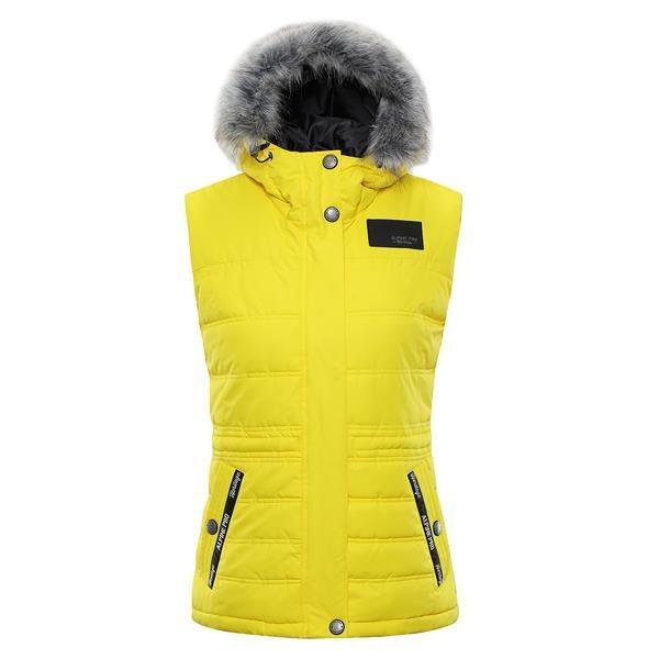 Žlutá zimní dámská vesta Alpine Pro - velikost XXL