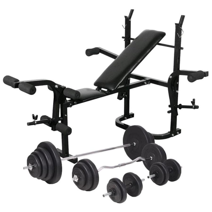 Posilovací lavice - Posilovací lavice se stojanem na závaží a sadou činek 120 kg