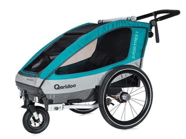 Modro-šedý dětský vozík za kolo Qeridoo - nosnost 35 kg