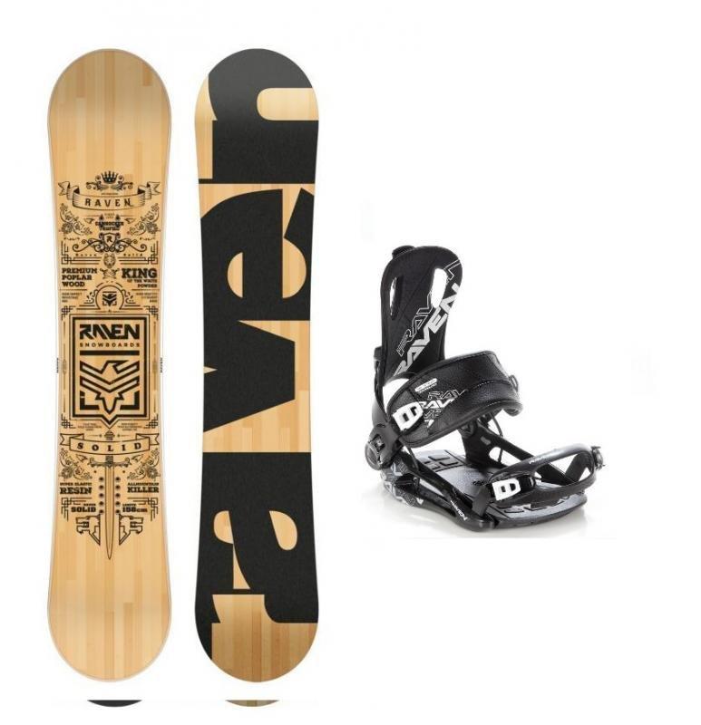 Černo-hnědý snowboard s vázáním Raven