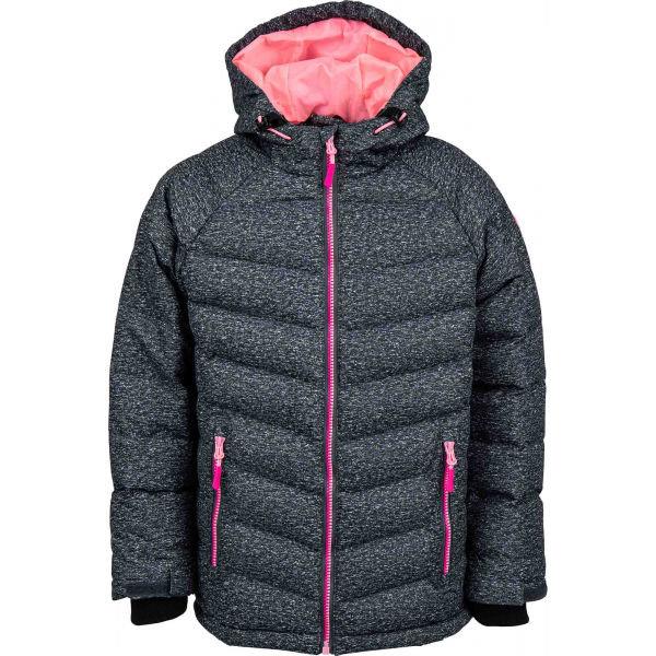 Růžová dětská zimní bunda s kapucí Lewro