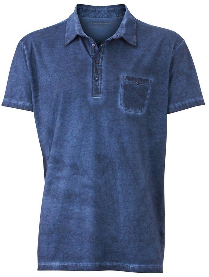 Modrá pánská polokošile s krátkým rukávem James & Nicholson - velikost M