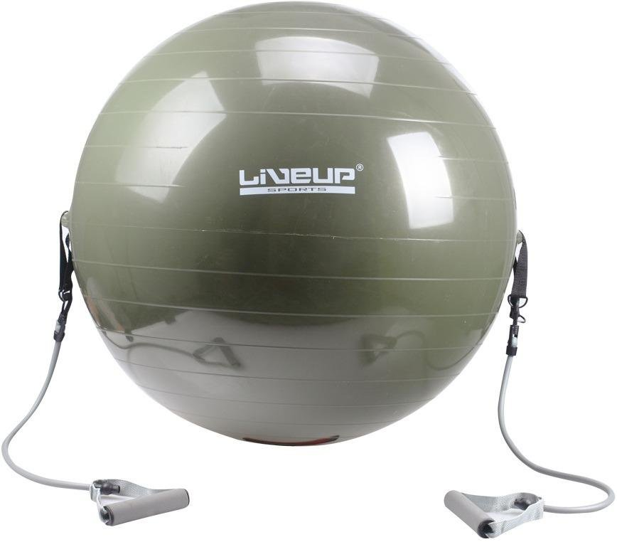 Červený gymnastický míč s gumovými expandéry Sedco - průměr 65 cm