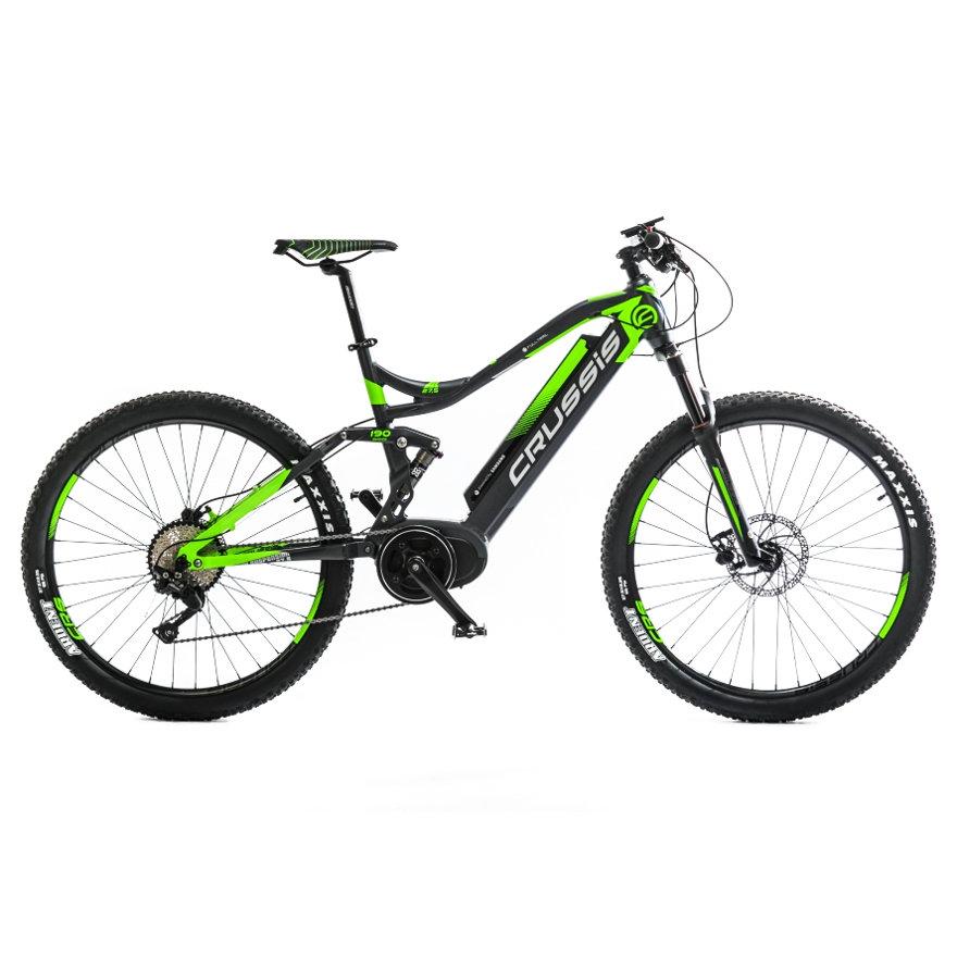 Černo-zelené celoodpružené horské dámské nebo pánské elektrokolo e-Full 7.4, Crussis
