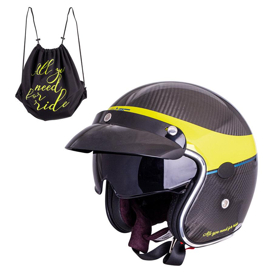 Černo-žlutá unisex helma na motorku V587 Glossy Carbon, W-TEC