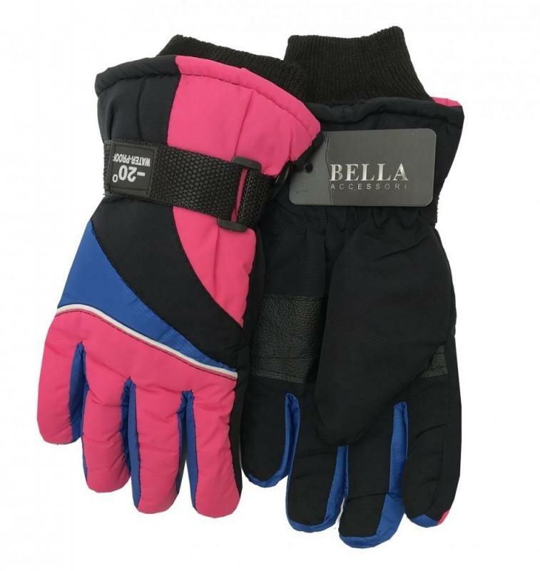 Černo-růžové dětské lyžařské rukavice