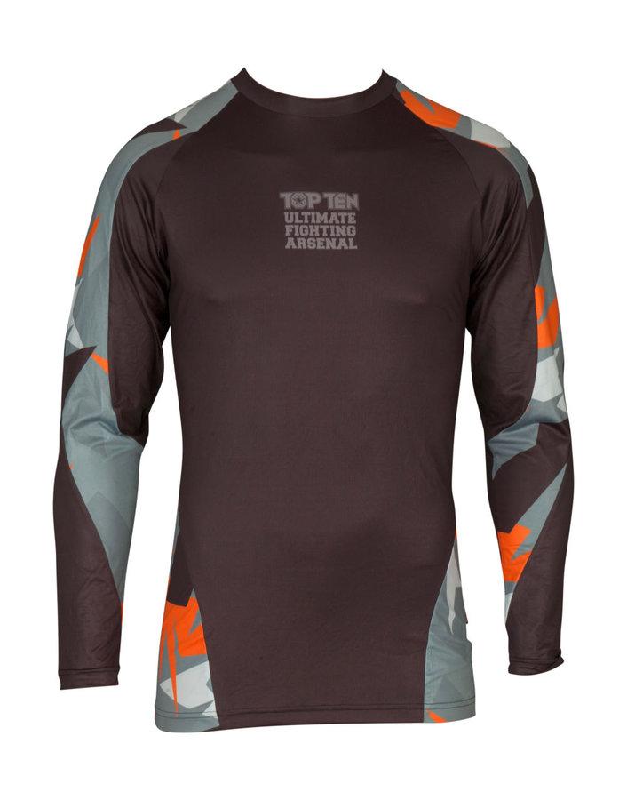 Rashguard - Top Ten rashguard Jungle - černá/šedá/oranžová - černá - velikost XL